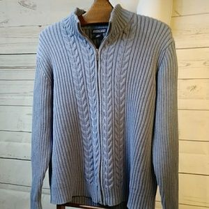Lands' End Light blue Cable Knit Zip Sweater Sz XL